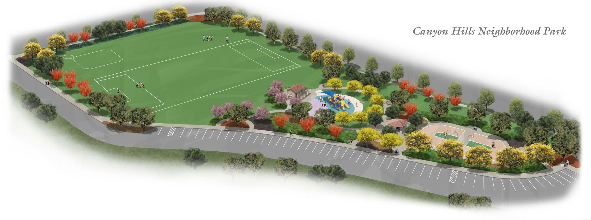 Canyon Hills 5.7 Acre Park Bird's Eye Rendering