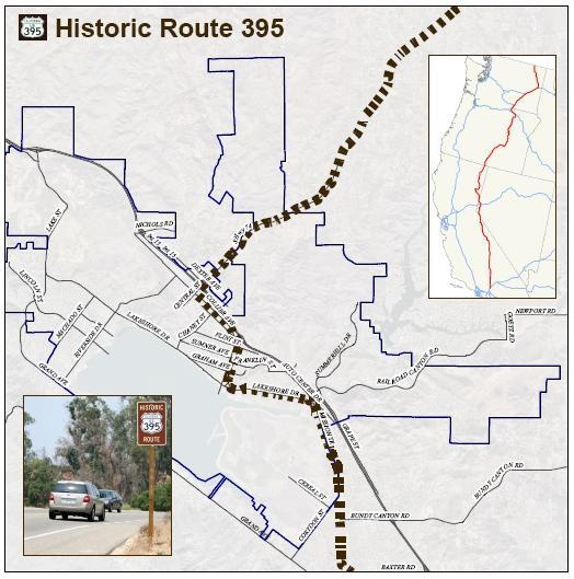 City Of Lake Elsinore Historic Highway 395 - Us-395-map