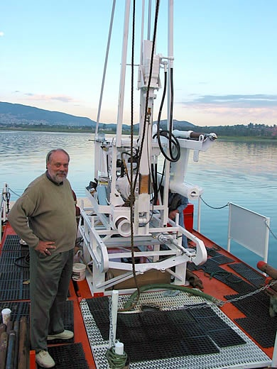Dr. Steve Lund, CSUF, assists with coring of Lake bottom