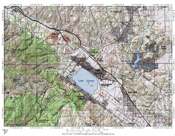 Lake Elsinore Topographical Map